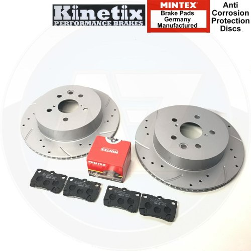 FOR LEXUS IS200d IS220d IS250 REAR DRILLED GROOVED BRAKE DISCS MINTEX PADS 310mm