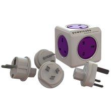 Allocacoc PowerCube Power Cube Rewireable UK Power Socket plus International Travel Plugs (EU, USA, AU)