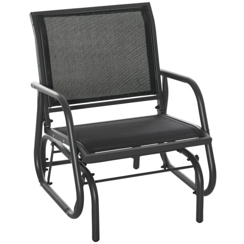 Outsunny Outdoor Gliding Swing Chair Garden Seat w/ Mesh Seat Curved Back Steel Frame