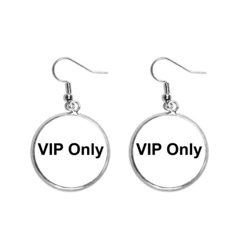 Vip Only Black Symbol Pattern Ear Dangle Silver Drop Earring Jewelry Woman