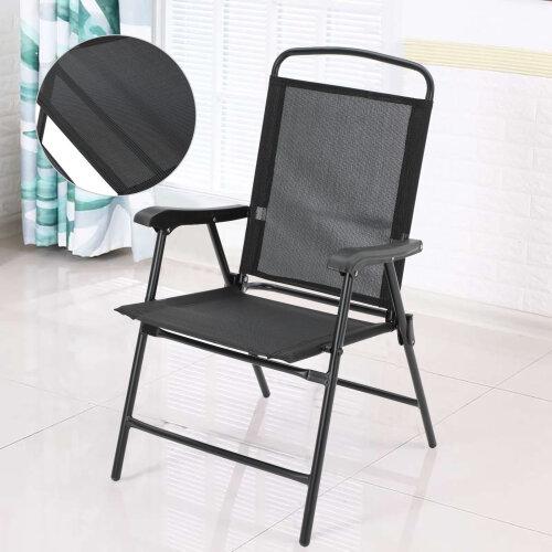 Garden Armchair Patio Black Chair Backrest Folding Reclining Outdoor