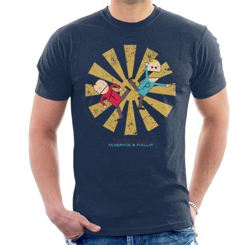 (Small, Navy Blue) Terrance And Phillip Retro Japanese Men's T-Shirt