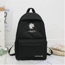 Wokex New Solid Backpack Girl School Bags For Teenage College Wind Women School Bag Nylon Daisy Printing High Student Bag Black