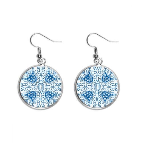 Talavera Blue Flower Ilustration Pattern Ear Dangle Silver Drop Earring Jewelry Woman