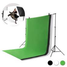 Studio Photography Stand Kit Black White Green Screen Backdrop Set