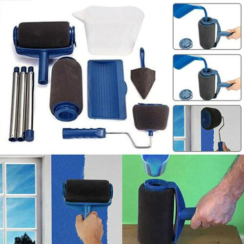 (8pc, Blue) Professional Paint Roller & Decorating Brush Set