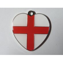PERSONALISED  ENAMELLED FLAG  HEART SHAPED DOG ID TAGS