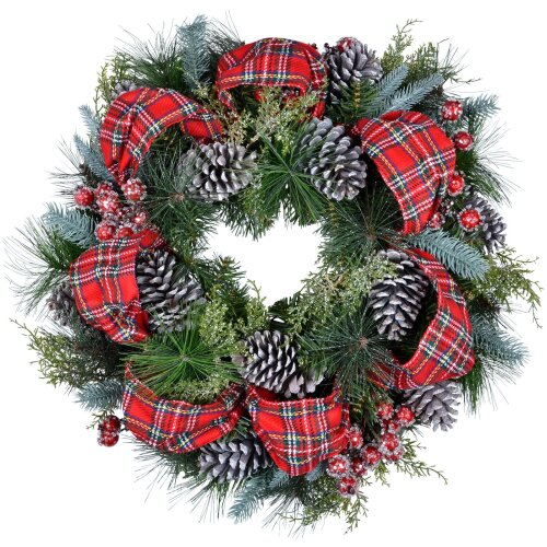 """Luxury Christmas Wreath 60cm 24"""" Artificial Cedar Foliage Decorated With Festive Red Tartan Ribbon Pine Cones Glitter And Berries Decoration For Indoo"""