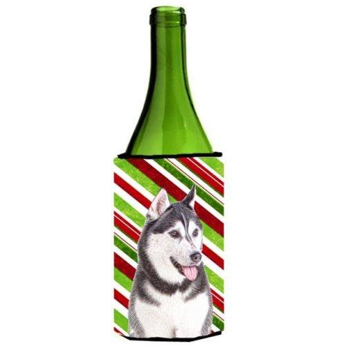 Candy Cane Holiday Christmas Alaskan Malamute Wine bottle sleeve Hugger