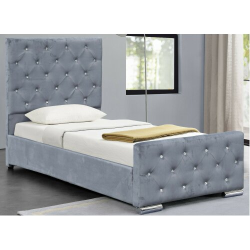 (3ft Single, Grey) Palma Crushed Velvet Diamante Chesterfield Bedframe with Lucy Mattress