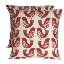 """2 x 16"""" Scandi Birds Scarlet Red Taupe Cream Cushion Covers"""