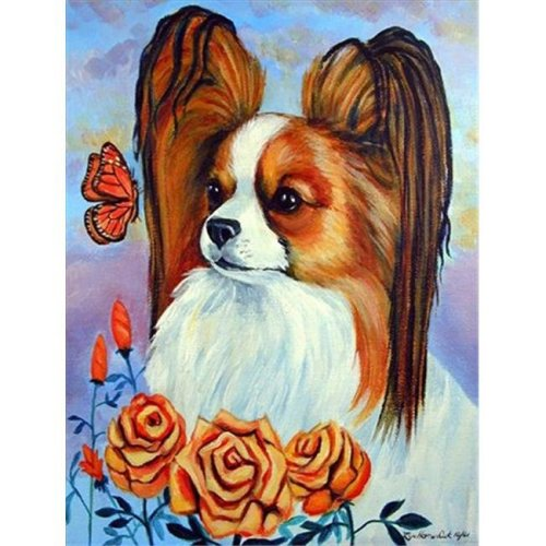 11 x 15 in. Papillon In The Roses Flag Garden Size