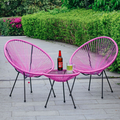 (Pink) Rattan Garden Bistro Table and Chair Patio Furniture Set