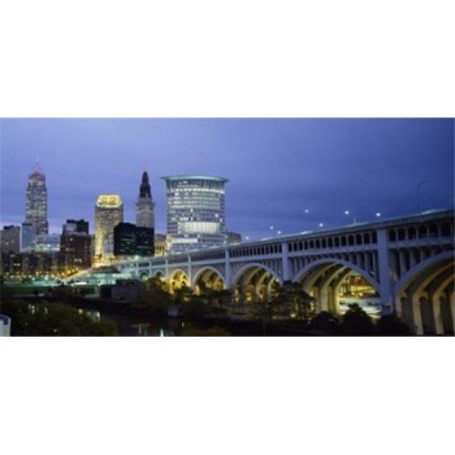 Bridge in a city lit up at dusk  Detroit Avenue Bridge  Cleveland  Ohio  USA Poster Print by  - 36 x 12