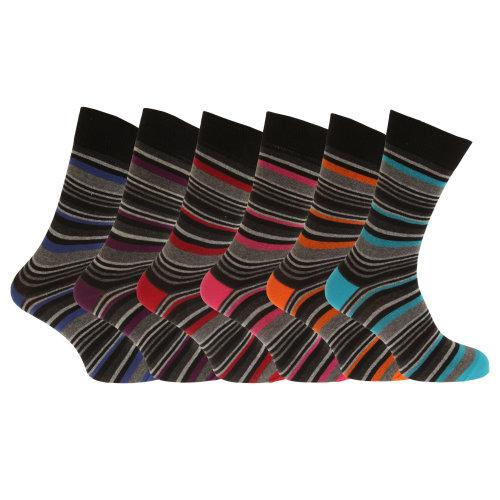 Mens Multi Stripe Ankle Socks (Pack Of 6)