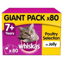 WHISKAS 7+ Cat Pouches Poultry Selection In Jelly 80x100g Giant Pack