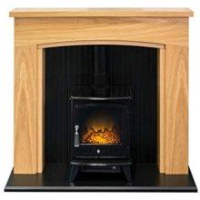 Adam Turin Stove Suite in Oak & Black with Aviemore Electric Stove in Black Enamel 48 Inch
