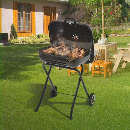 Square folding charcoal grill, portable BBQ charcoal grill with two wheels, 21.5 inch, black