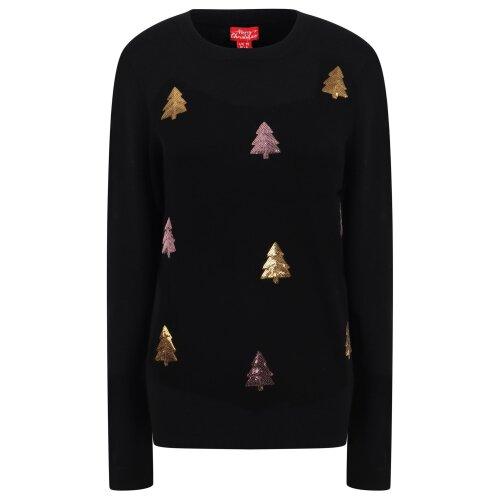 Ladies Sequin Christmas Tree Black Knitted Christmas Jumper