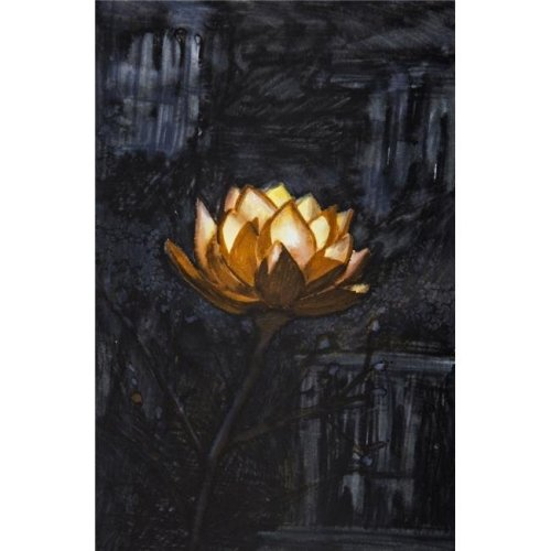 Golden Flower on Black Background Poster Print - 24 x 36 in. - Large