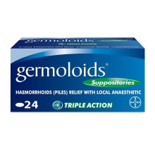 Germoloids Haemorrhoids Treatment and Piles Treatment 24 Suppositories  -  with Anaesthetic to Numb the Pain and Itch