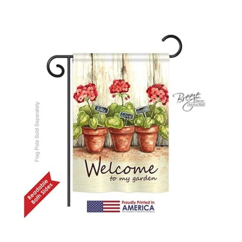 Breeze Decor 50064 Welcome Welcome To My Garden 2-Sided Impression Garden Flag - 13 x 18.5 in.