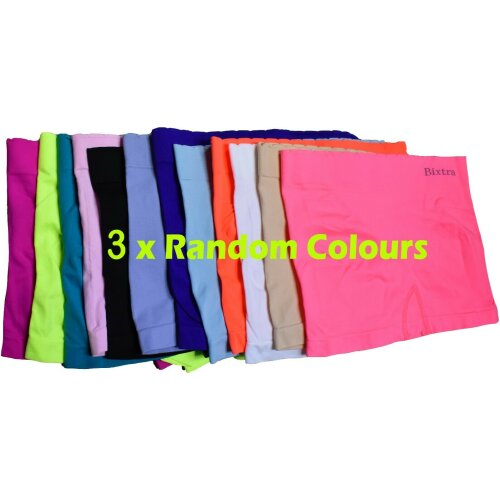 (UK 8 - 10 S/M, Random Colours x3) Womens Knickers Shorts Stretch Yoga Boxers Sports