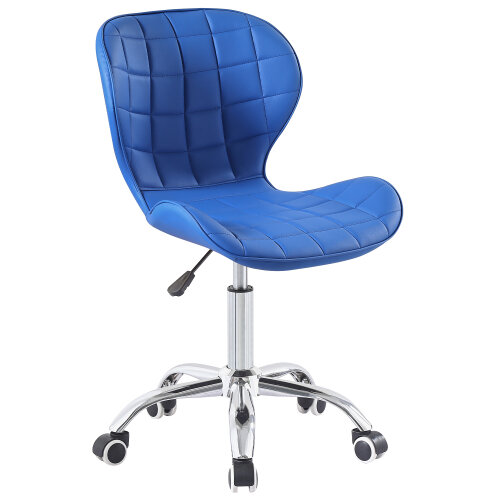 (Blue) Charles Jacobs Adjustable Swivel Chair | Office Chair With Chrome Wheels