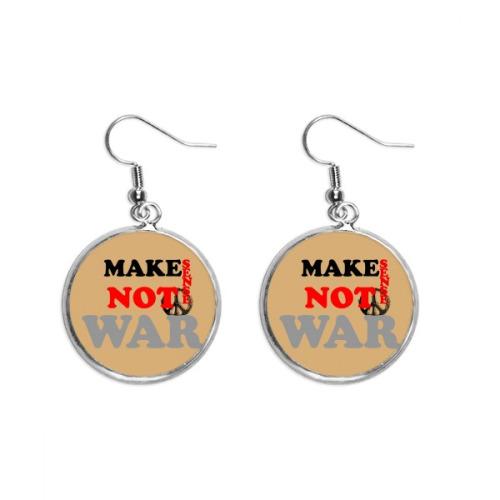 Make Sense Not War Love Peace World Ear Dangle Silver Drop Earring Jewelry Woman