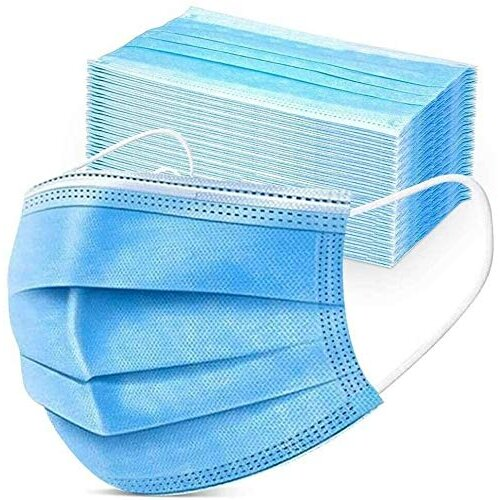 3-Layer Protective Face Masks - Disposable Face Masks with High Filterability - Face Masks Disposable for Sensitive Skin - Blue, Pack of 50