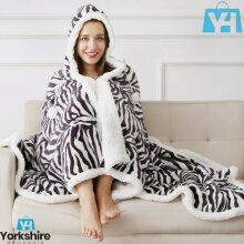 Zebra Skin Hooded Super Soft snuggle Blanket Sherpa Fleece Throw Xmas 130x180cm