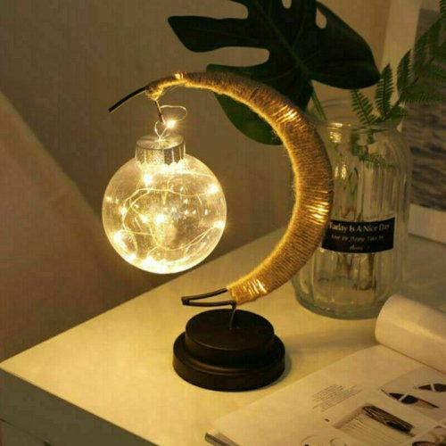 (Yellow) LED Moon Shape Night Light Bedside Desk Lamp