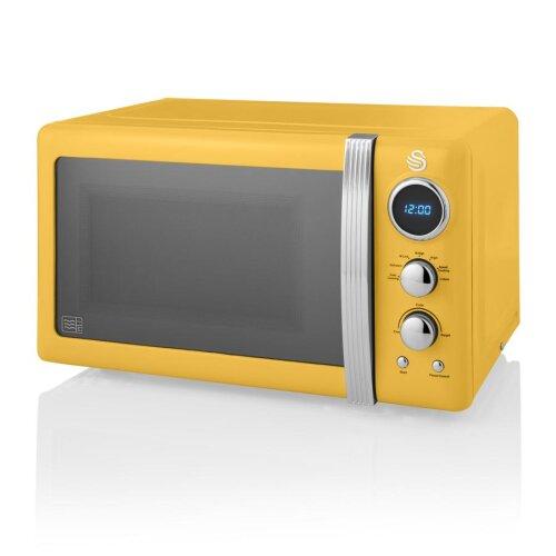 Swan Retro Digital 20L Microwave 800W Freestanding Countertop Five Power Levels - Yellow