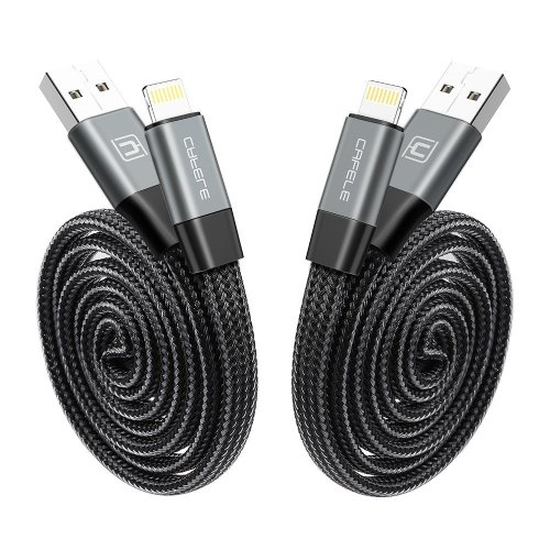 2 Pack Retractable Cable, CAFELE Portable & Durable Auto Retraction Nylon Braided to USB A Charge & Sync Cable for iPhone 7,7