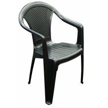 150 Plastic Garden Chairs Strong Black Stackable Outdoor Patio Furniture - Bulk