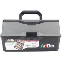 "ArtBin Lift Tray Box W/3 Trays & Quick Access Lid Storage-9""X15.75""X8.375"", Black & Gray"