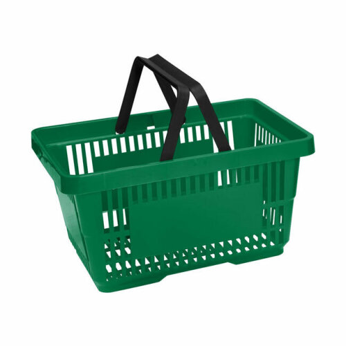 Green Plastic Shopping Baskets With 2 Handles