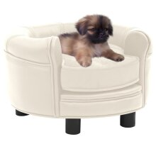 vidaXL Dog Sofa Cream Plush and Faux Leather Pet Cat Couch Dog Bed Supply