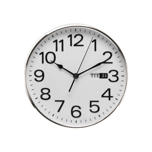 William Widdop Classic Traditional Quartz Bold Wall clock with Day - W7810