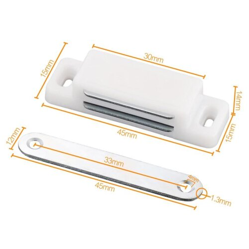 (White Small) Myhomera Strong Door Closer Magnetic Silence Cabinet Catch Latch Magnet Suction