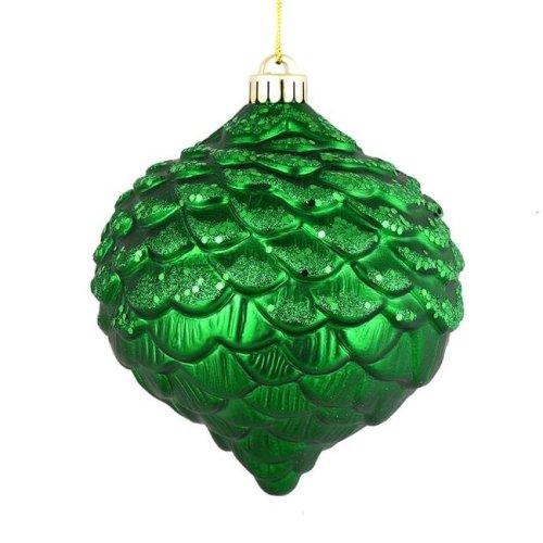 Vickerman N183804D 6 in. Green Glitter Pine Cones Ornament, 6 per Bag - Pack of 6