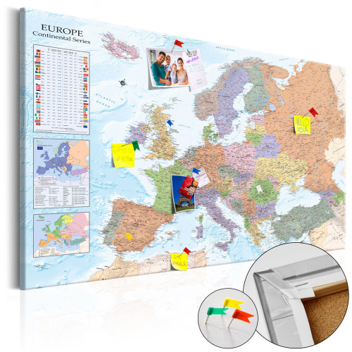 Decorative Pinboard - World Maps: Europe [Cork Map]