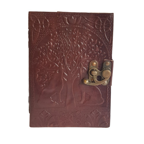 """Woodland Leather 5"""" x 7"""" Brown Leather Journal Tree Of Life"""