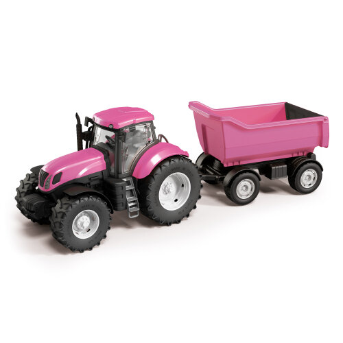 URBN-TOYS Kids Outdoor Beach Pink Tractor With Trailer