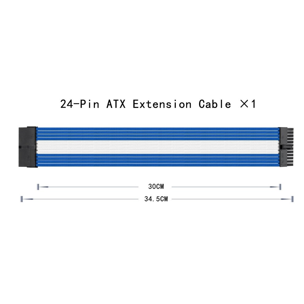 Uphere Sleeved Cable Extension For Power Supply W Extra 24 PIN 8 6 4+4 WHITE Com