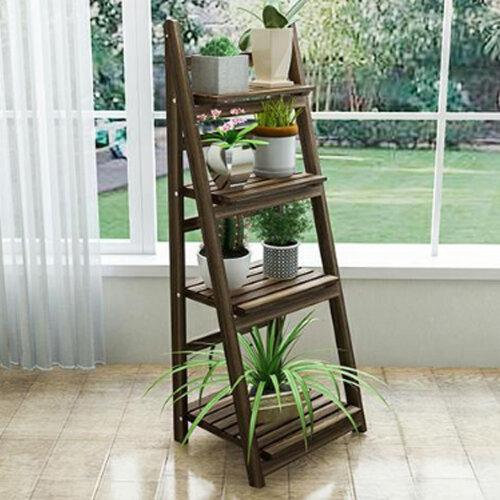 4 Tier Ladder Book Shelf Bookcase Garden Flower Plant Display Wooden