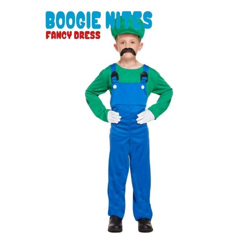 U36376 Green Luigi Super Mario Plumber Fancy Dress Henbrandt Size XL Age 10-12