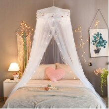 Jeteven Mosquito Net Bed Canopy for Children Fly Insect Protection Indoor/Outdoor Decorative Height 240cm/94.5in White