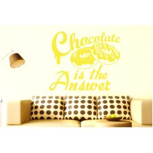 Chocolate Is The Answer Wall Stickers Art Decals - Large (Height 57cm x Width 68cm) Bright Yellow
