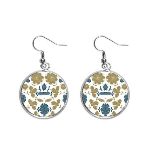 Decorative Classic Floral Pattern Golden Ear Dangle Silver Drop Earring Jewelry Woman